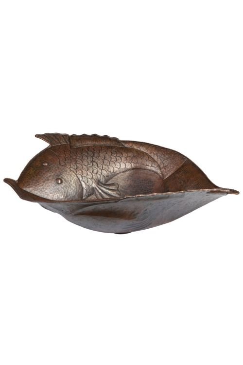 Premier Copper Products PV2FHDB Two Fish Vessel Hammered Copper Sink in Oiled Rubbed Bronze