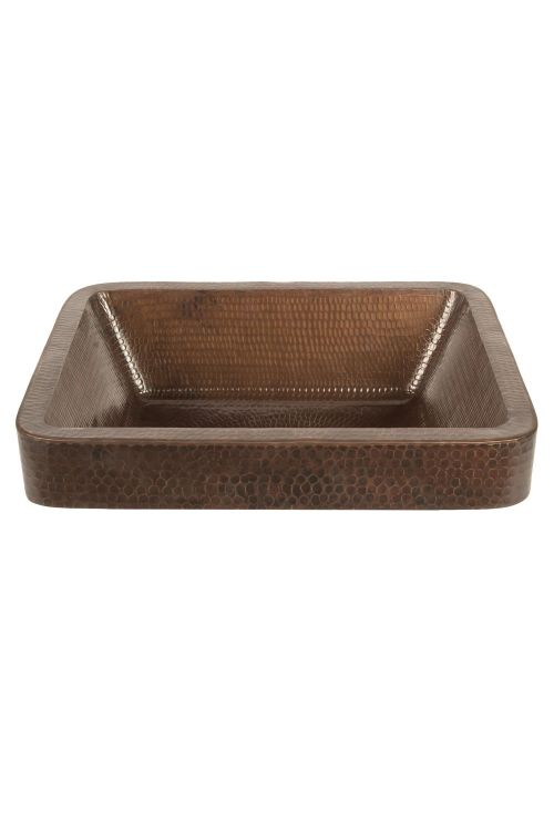 Premier Copper Products VREC17SKDB 17 Inch Rectangle Skirted Vessel Hammered Copper Sink