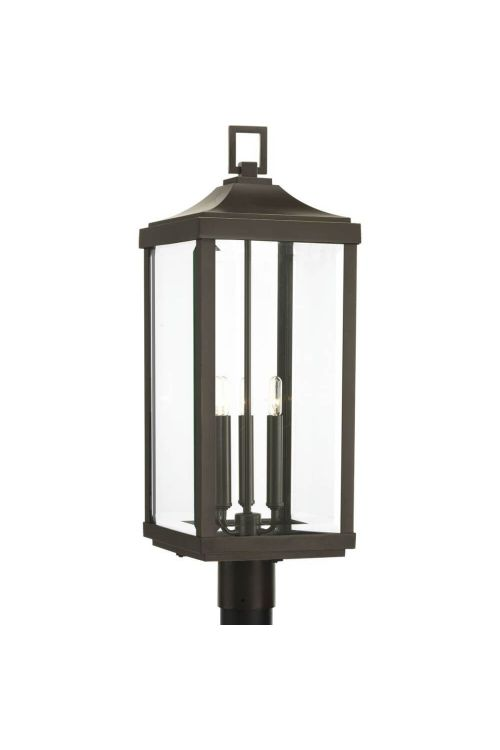 Progress Lighting P540004-020 Gibbes Street 3 Light 27 Inch Tall Post Lantern In Antique Bronze With Clear Beveled Glass