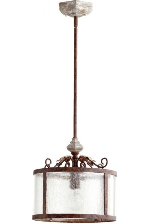 Quorum International 3052-56 La Maison 1 Light 13 Inch Pendant In Manchester Grey With Clear Seeded Shade