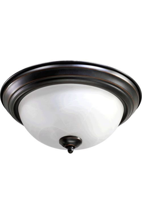 Quorum International 3066-15-95 15 Inch 3 Light Faux Alabaster Flush Mount In Old World With White Shade