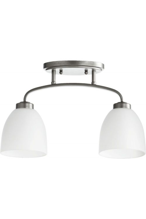 Quorum International 3260-2-64 Reyes 2 Light Sink Flush Mount In Classic Nickel With Satin Opal Shade
