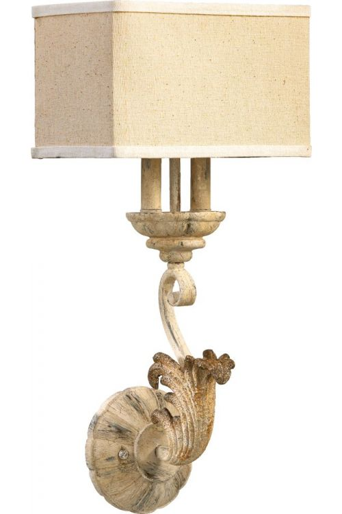 Quorum International 5237-2-70 Florence 2 Light Wall Sconce In Persian White With Amber Linen Shade