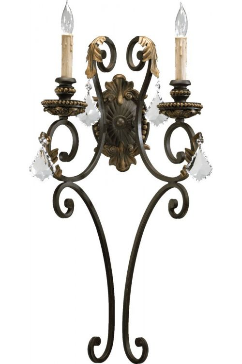Quorum International 5357-2-44 Rio Salado 2 Light 27 Inch Tall Wall Sconce In Toasted Sienna With Mystic Silver