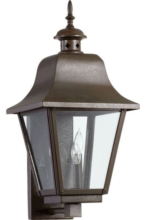Quorum International 7030-3-86 Bishop 3 Light 23 Inch Tall Wall Sconce In Oiled Bronze With Clear Shade