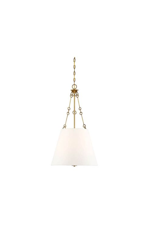 Savoy House 7-2201-4-322 Austin 4 Light 18 Inch Pendant In Warm Brass With White Shade