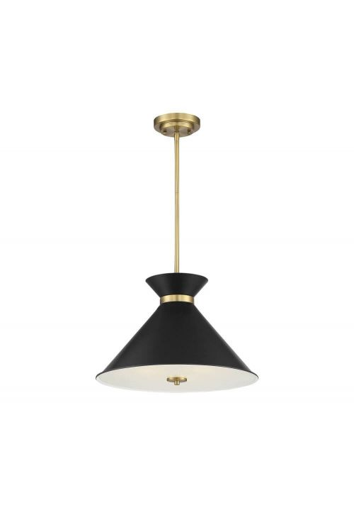 Savoy House 7-2416-3-143 Lamar 3 Light 18 Inch Pendant in Black - Warm Brass Accents with Black Clear Diffuser