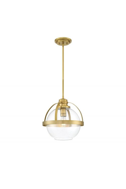 Savoy House 7-7201-1-322 Pendleton 1 Light 14 Inch Pendant in Warm Brass with Clear Glass