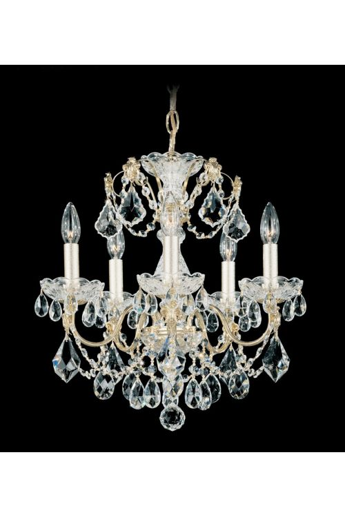 Schonbek 1704-211 Century 5 Light 17 Inch Crystal Chandelier In Rich Auerelia Gold With Clear Heritage Crystal