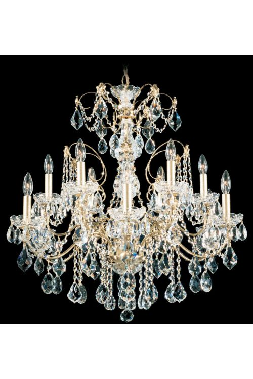 Schonbek 1712-40 Century 12 Light 30 Inch Crystal Chandelier In Silver With Clear Heritage Crystal