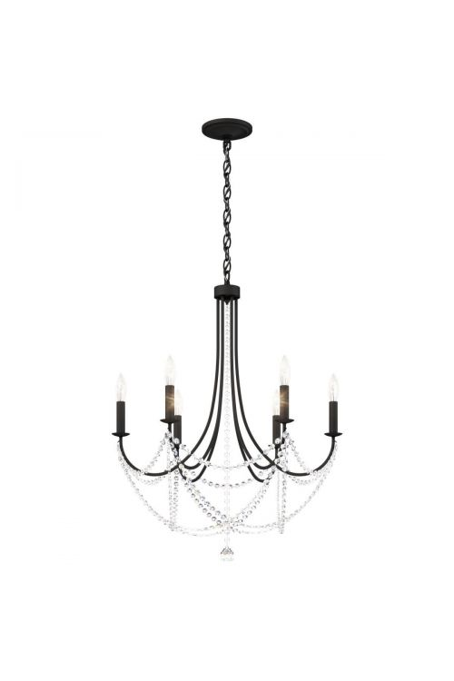Schonbek RJ1006N-51H Verdana 6 Light 24 inch Chandelier in Black with Clear Heritage Crystal