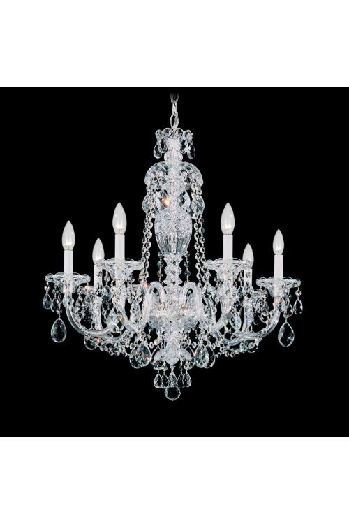 Schonbek 2995-40H Sterling 7 Light 25 Inch Crystal Chandelier In Silver With Heritage Crystal