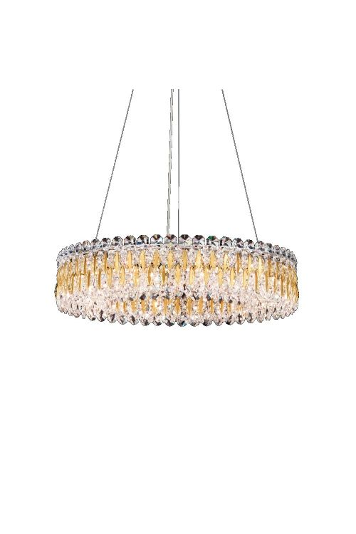 Schonbek RS8343N-22S Sarella 12 Light 24 Inch Crystal Pendant In Heirloom Gold With Crystal From Swarovski
