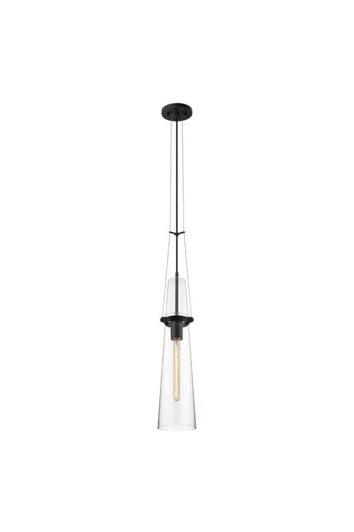Sonneman 4751.25 Sky 1 Light Pendant In Satin Black With Clear Shade
