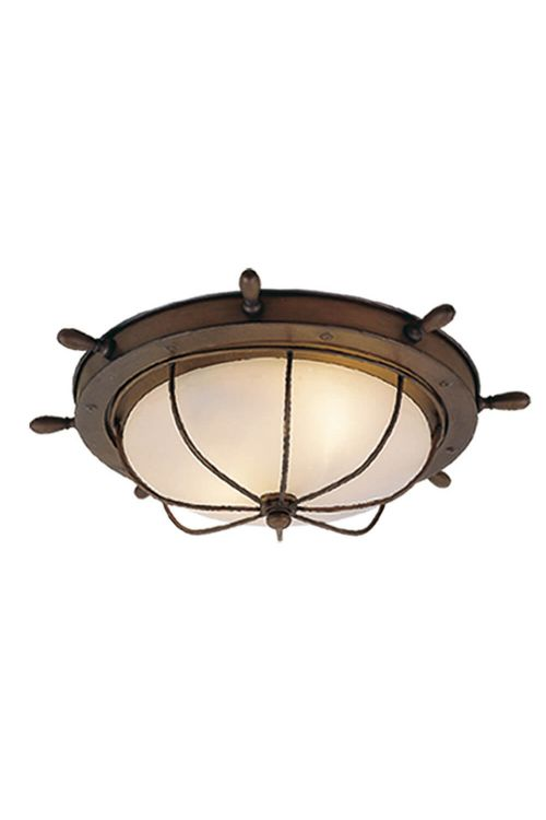 Vaxcel Lighting OF25515RC Nautical 15 Inch Outdoor Ceiling Light In Antique Red Copper with Frosted Glass