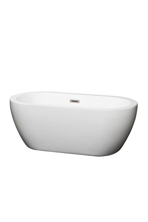 Wyndham Collection WCOBT100260BNTRIM Soho 60 Inch Center Drain Soaking Tub In White with Brushed Nickel Drain