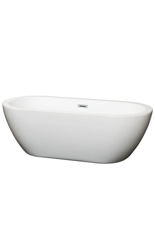 Wyndham Collection WCOBT100268 Soho 68 Inch Soaking Bathtub In White with Chrome Drain