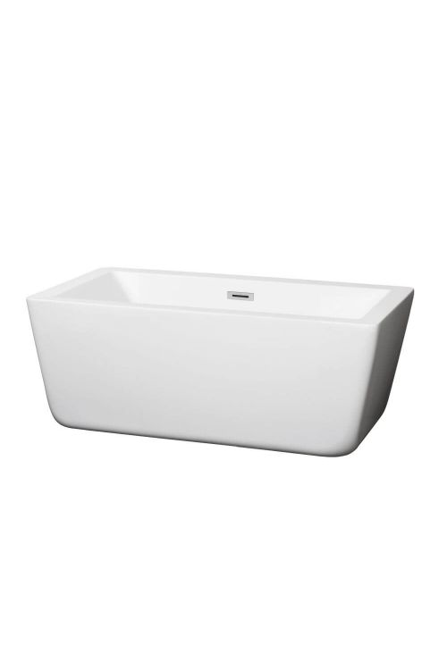 Wyndham Collection WCOBT100559 Laura 59 Inch Soaking Bathtub In White with Chrome Drain