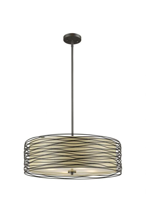 Z-Lite 2009-18BRZ Zinnia 3 Light Pendant In Bronze With Flax Linen Shade