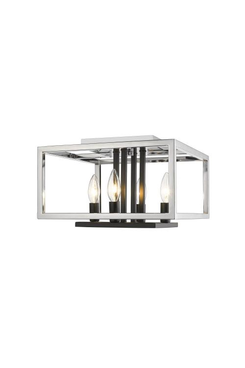 Z-Lite 456F-CH-BK Quadra 4 Light Flush Mount in Chrome-Black