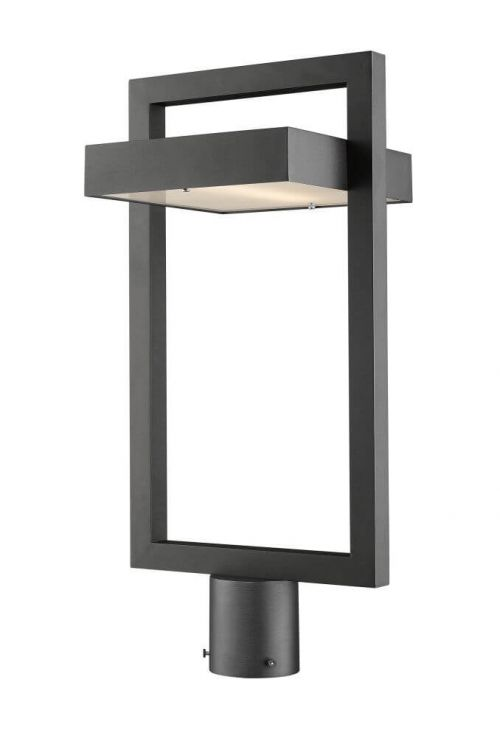 Z-Lite 566PHBR-BK-LED Luttrel 1 Light 22 Inch Tall LED Light Outdoor Post Light In Black With Frosted Glass Shade