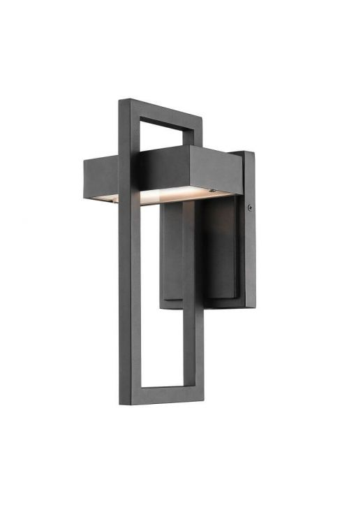 Z-Lite 566S-BK-LED Luttrel 1 LED Light Outdoor Wall Sconce In Black With Frosted Glass Shade