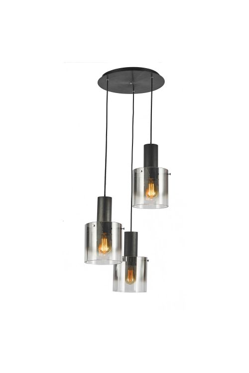 Artcraft AC11523SM Henley 3 Light 20 Inch Pendant in Satin Black with Smoke Glass
