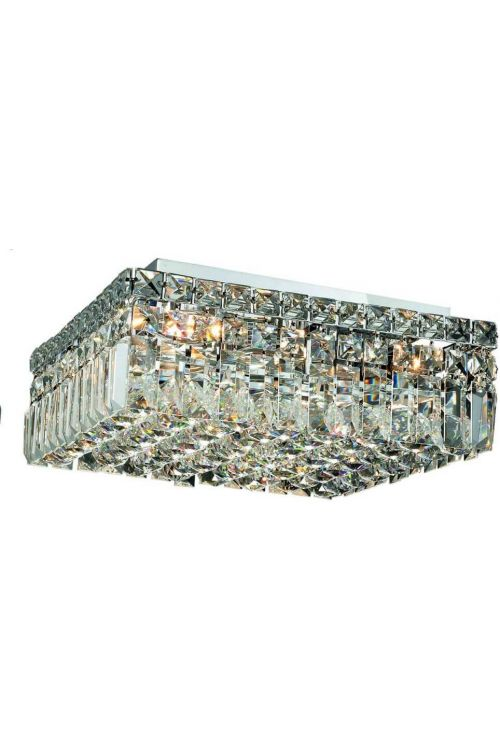 Cascade 14 inch Wide 4 Light Contemporary Square Medium Flush Mount in Chrome