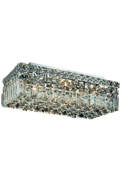 Cascade 16 inch Long 4 Light Contemporary Rectangle Medium Flush Mount in Chrome
