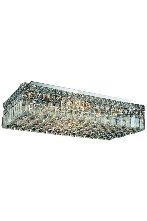 Cascade 24 inch Long 6 Light Contemporary Rectangle Extra Large Flush Mount in Chrome