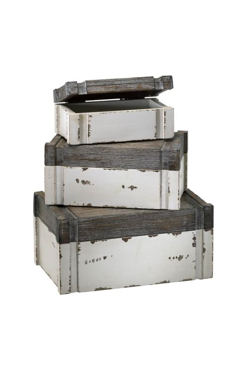 Cyan Design 02471 Alder Boxes Set of Three In Distressed White And Gray