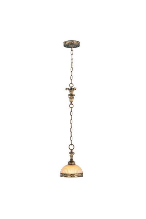 1 Light Palacial Bronze with Gilded Accents Mini Pendant