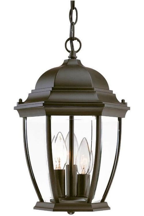 15 Inch Tall Black Outdoor Hanging Lantern Light in Clear beveled glass Panels