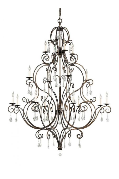 16 light Crystal Multi Tier Bronze Chandelier