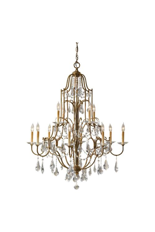 12 light Crystal Multi Tier Bronze Chandelier
