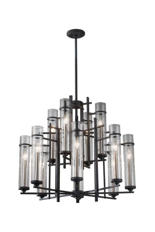 12 light Transitional Multi Tier Antique Iron chandelier