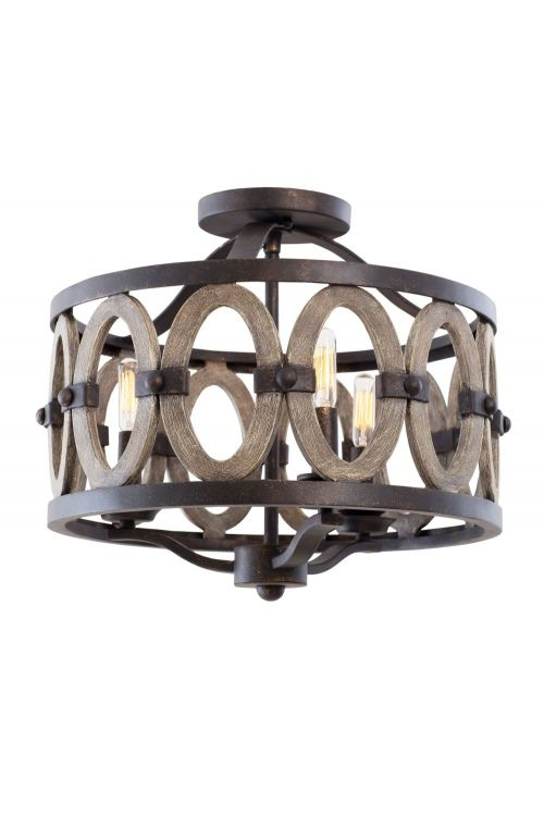 driftwood entwined 3 light flush mount