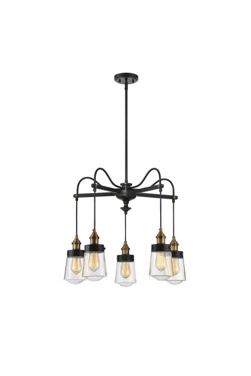 5 Light Industrial In Chandelier Vintage Black with Warm Brass With Clear Glass