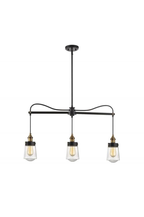 3 Light Industrial In Linear Chandelier Vintage Black with Warm Brass With Clear Glass