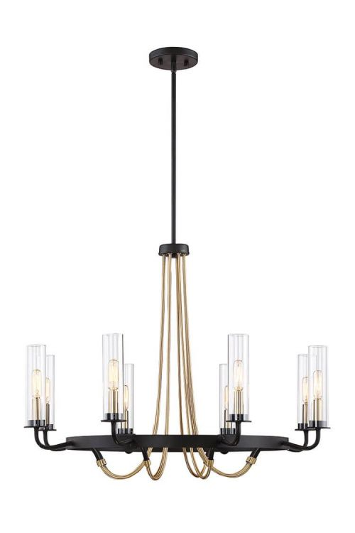 8 Light Industrial In Chandelier Vintage Black With Warm Brass With Clear Glass