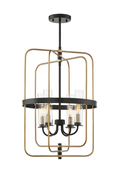 4 Light Industrial In Foyer Pendant Vintage Black With Warm Brass With Clear Glass