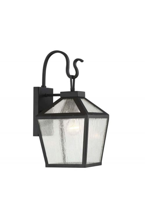 1 Light Modern Farmhouse Black Outdoor Wall Lantern with Clear Seeded Glass
