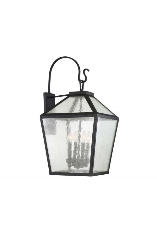 4 Light Modern Farmhouse Black Outdoor Wall Lantern with Clear Seeded Glass