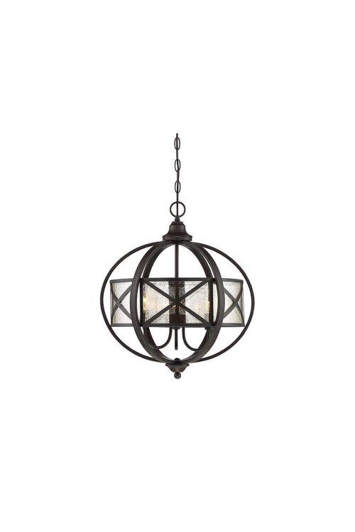 3 Light Industrial Pendant In English Bronze With Dark Antique Mercury Glass