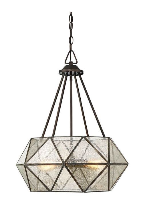4 Light Industrial In Pendant Oiled Burnished Bronze With Mercury Glass