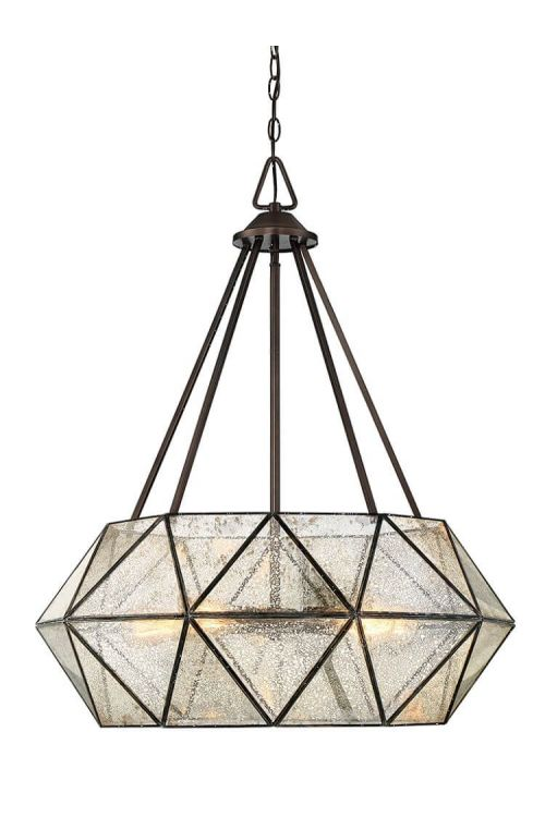5 Light Industrial In Pendant Oiled Burnished Bronze With Mercury Glass