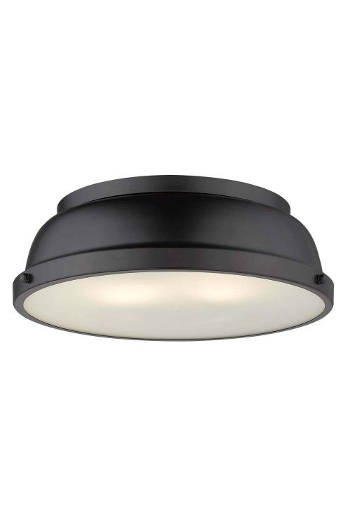 2 Light 14 inch Black Flush Mount with a Matte Black Shade