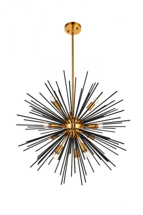 Transitional 10 Light Pendant in Light Antique Brass-Flat Black
