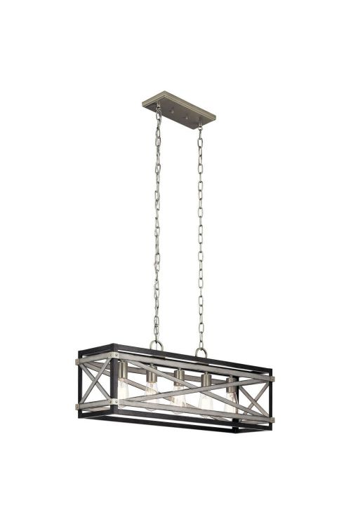 5 Light Anvil Iron-Distressed Antique Grey-Brushed Nickel Linear Pendant