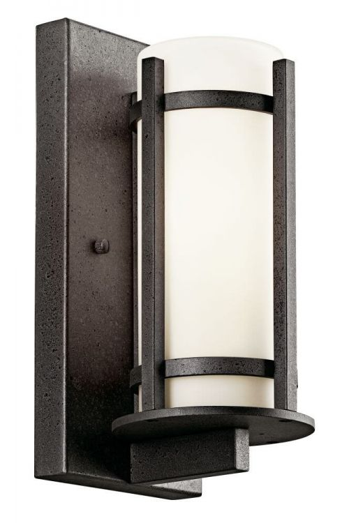 Outdoor Lodge Style Wall Sconce in Wrought Iron